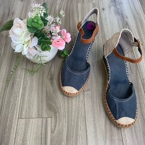 White Mountain Navy Lunchtime Espadrille Wedges